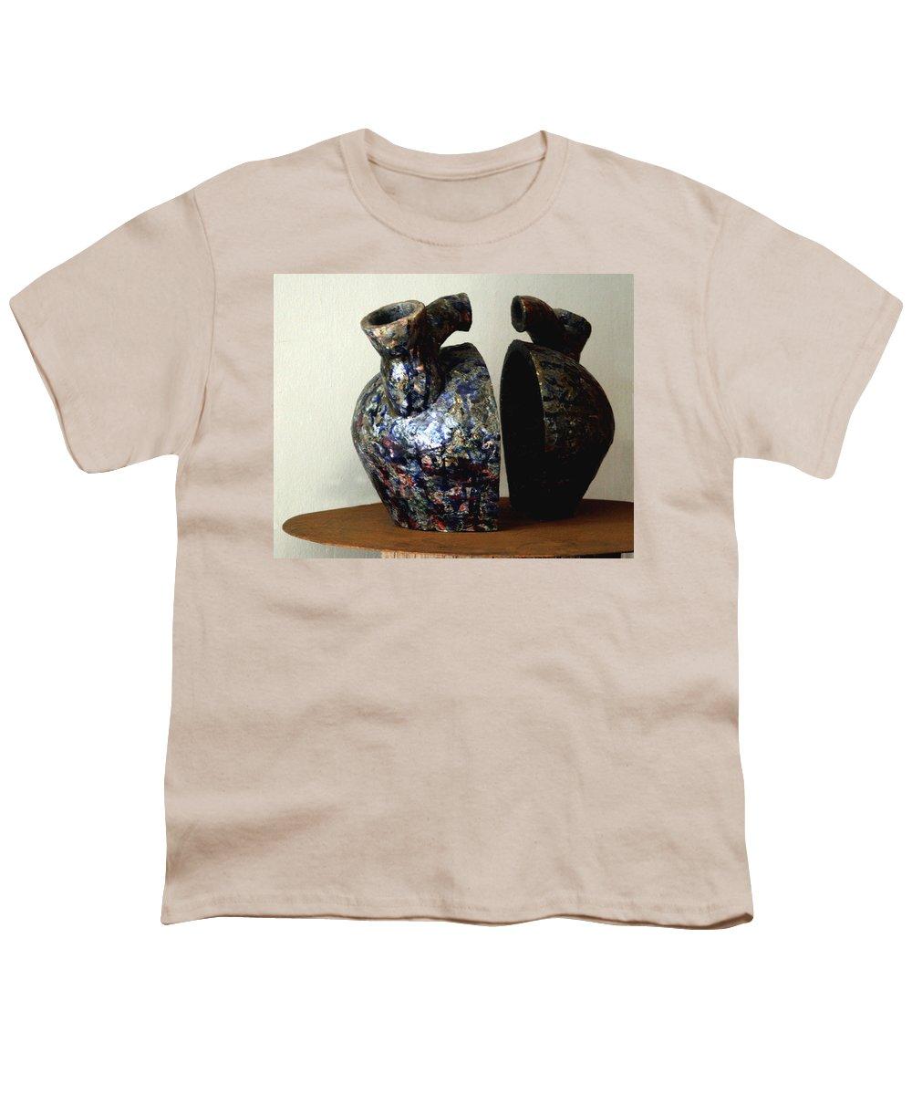 Ceramic Youth T-Shirt featuring the sculpture Las Venas Abiertas De America Latina by Madalena Lobao-Tello