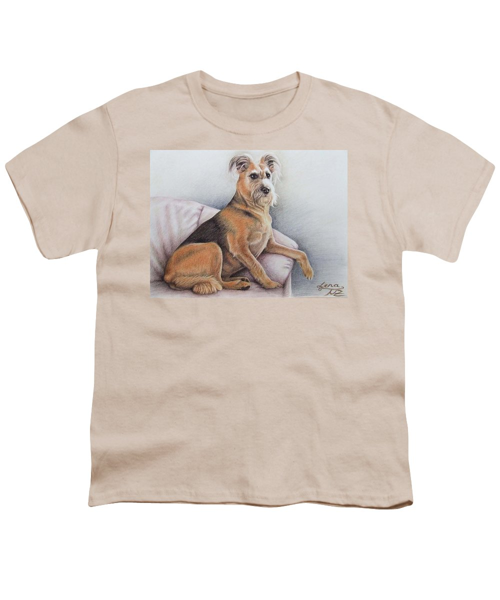 Dog Youth T-Shirt featuring the pastel Lena by Nicole Zeug