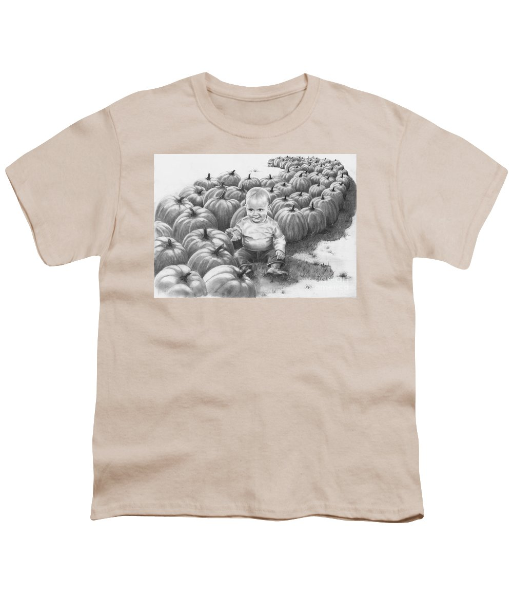 Charity Youth T-Shirt featuring the drawing Little Pumpkin by Murphy Elliott