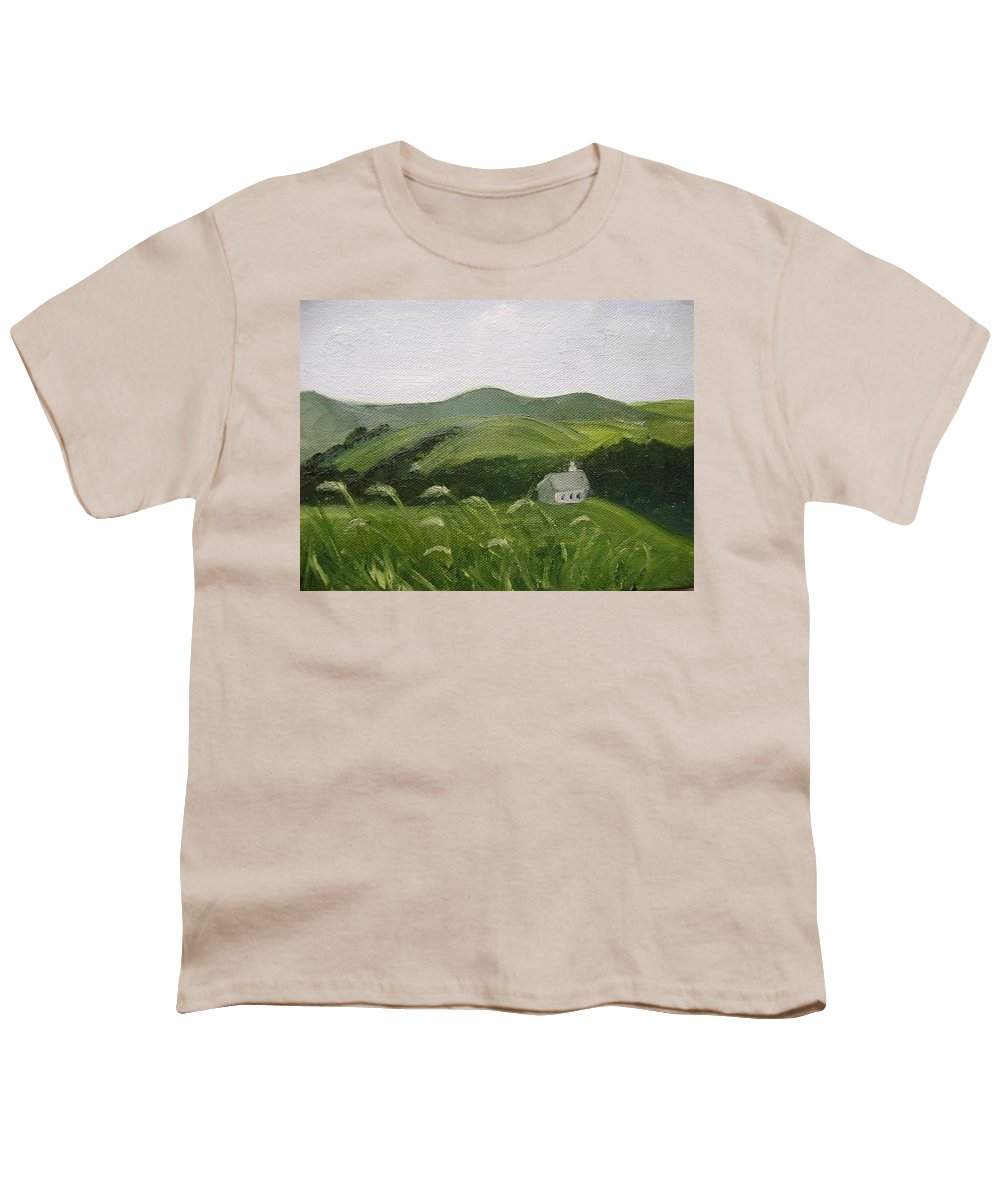 Landscape Youth T-Shirt featuring the painting Little Schoolhouse On The Hill by Toni Berry