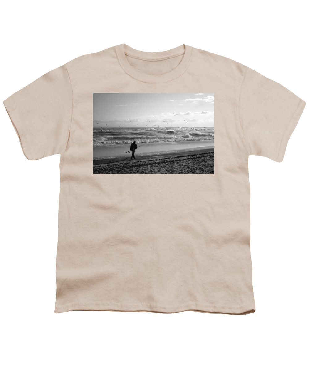 Sea Youth T-Shirt featuring the photograph Lone Fisherman by Linda C Johnson