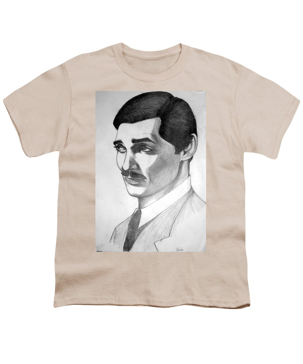 Portrait Youth T-Shirt featuring the drawing Long Live The King by Marco Morales