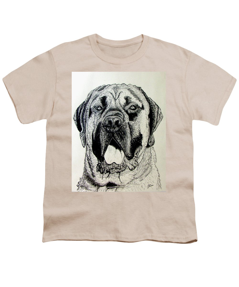 Mastiff Youth T-Shirt featuring the drawing Mastiff by Stan Hamilton