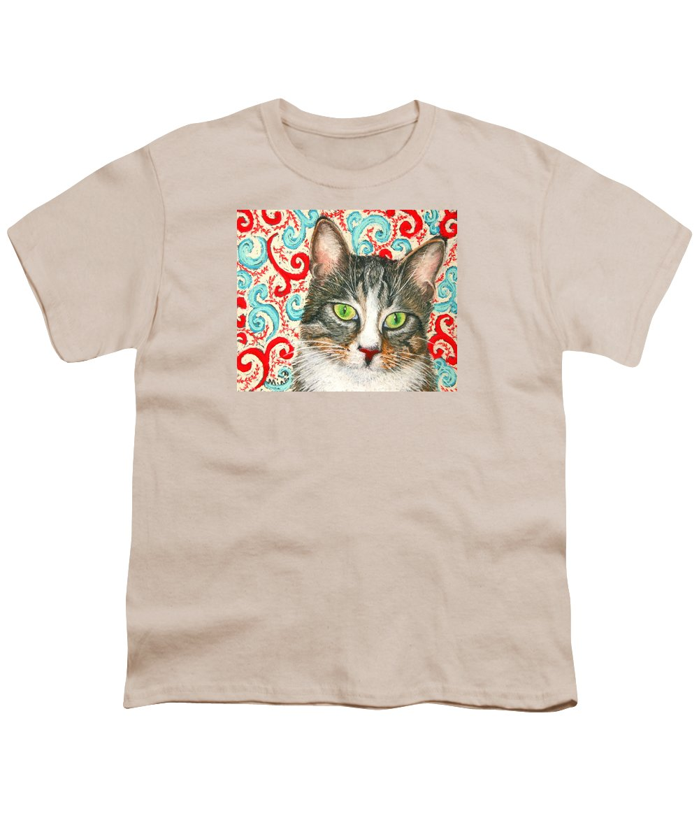 Cat Youth T-Shirt featuring the painting Meow Please... by Minaz Jantz