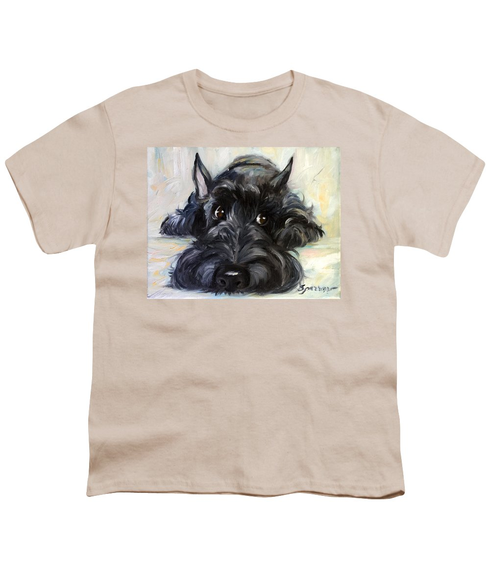 Scottie Youth T-Shirt featuring the painting Mischief by Mary Sparrow