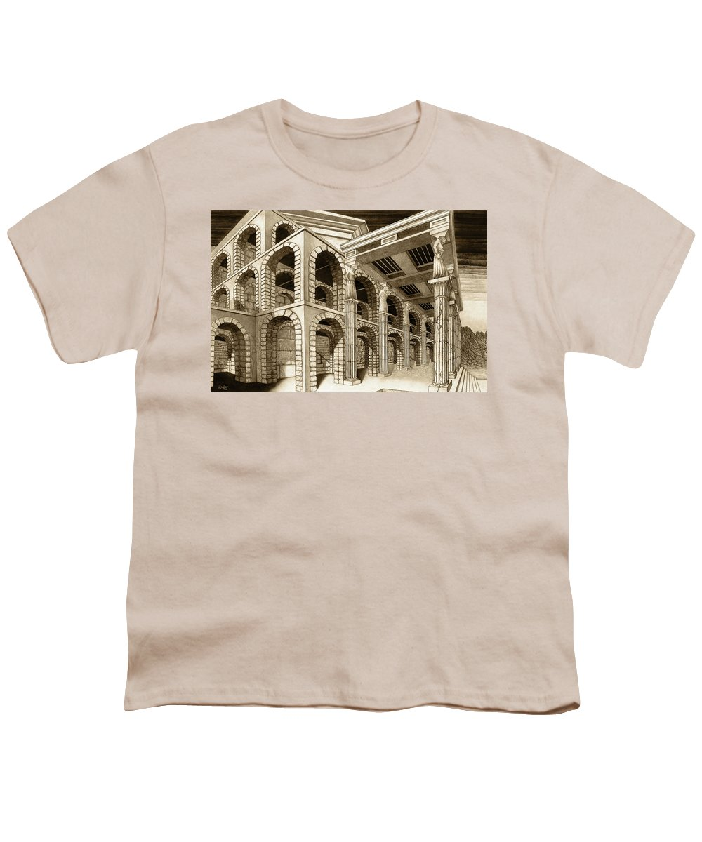 Mithlond Youth T-Shirt featuring the drawing Mithlond Gray Havens by Curtiss Shaffer