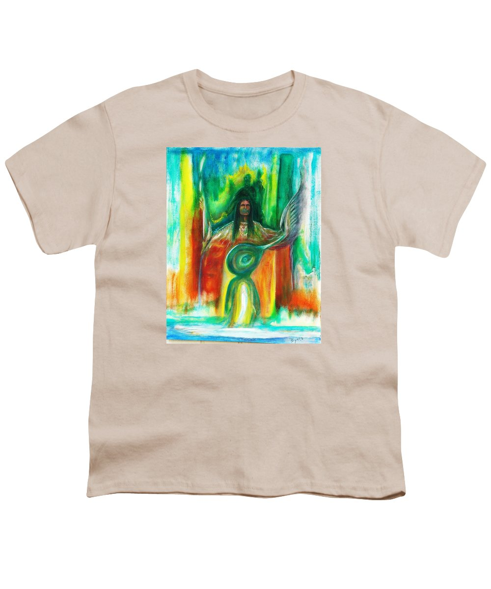 Native American Youth T-Shirt featuring the painting Native Awakenings by Kicking Bear Productions