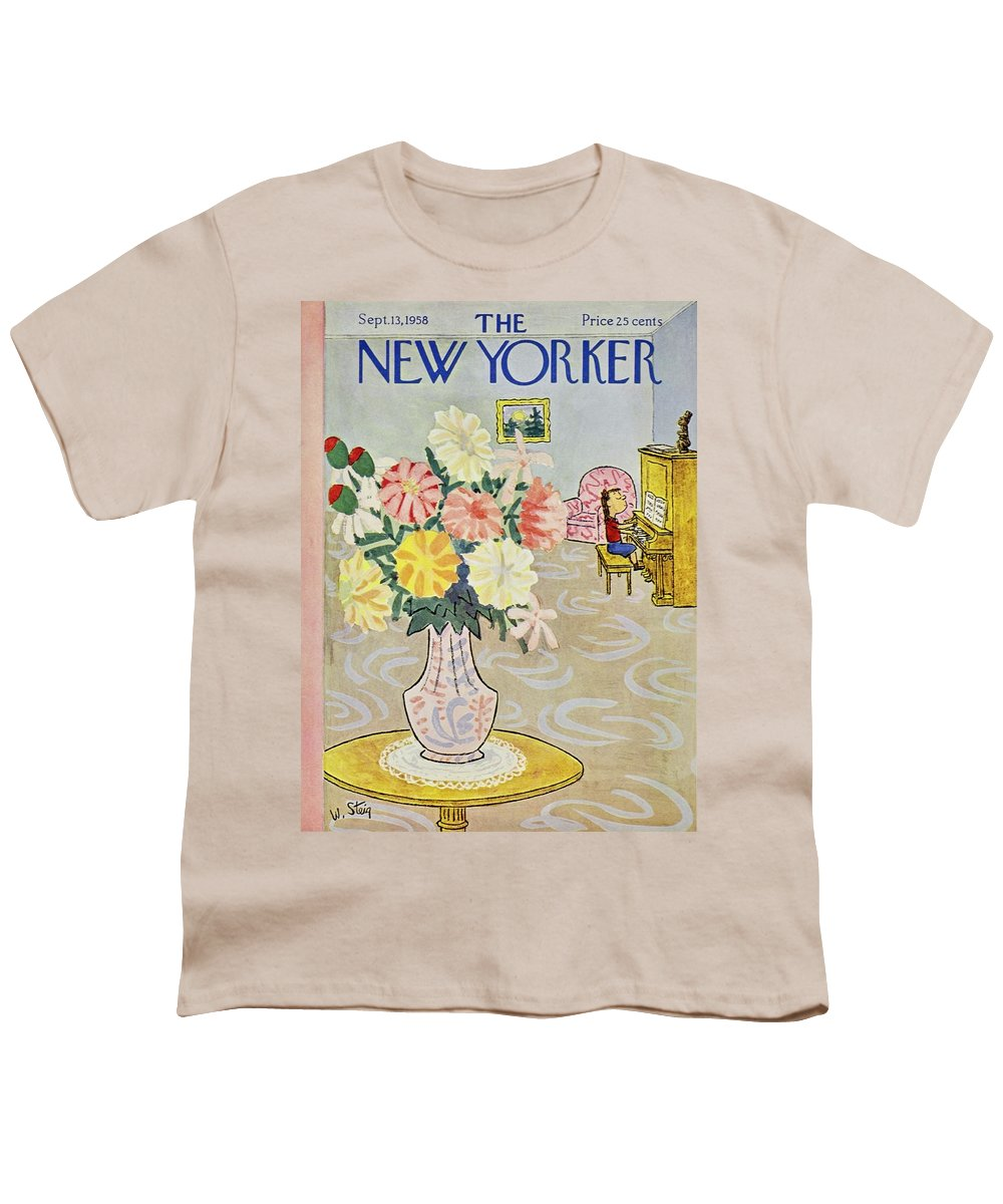 Illustration Youth T-Shirt featuring the painting New Yorker September 13 1958 by William Steig