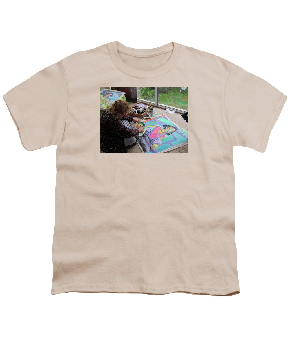 Landscape Youth T-Shirt featuring the painting Nude by Raquel Sarangello