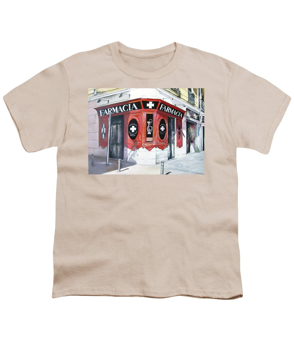 Pharmacy Youth T-Shirt featuring the painting Old Pharmacy by Tomas Castano