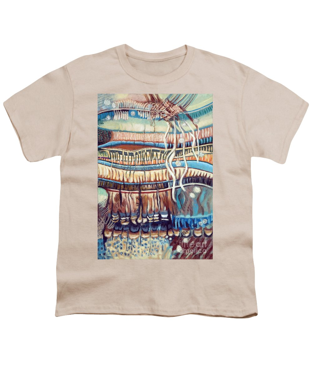 Abstract Youth T-Shirt featuring the painting Palm Contractions by Kerryn Madsen-Pietsch