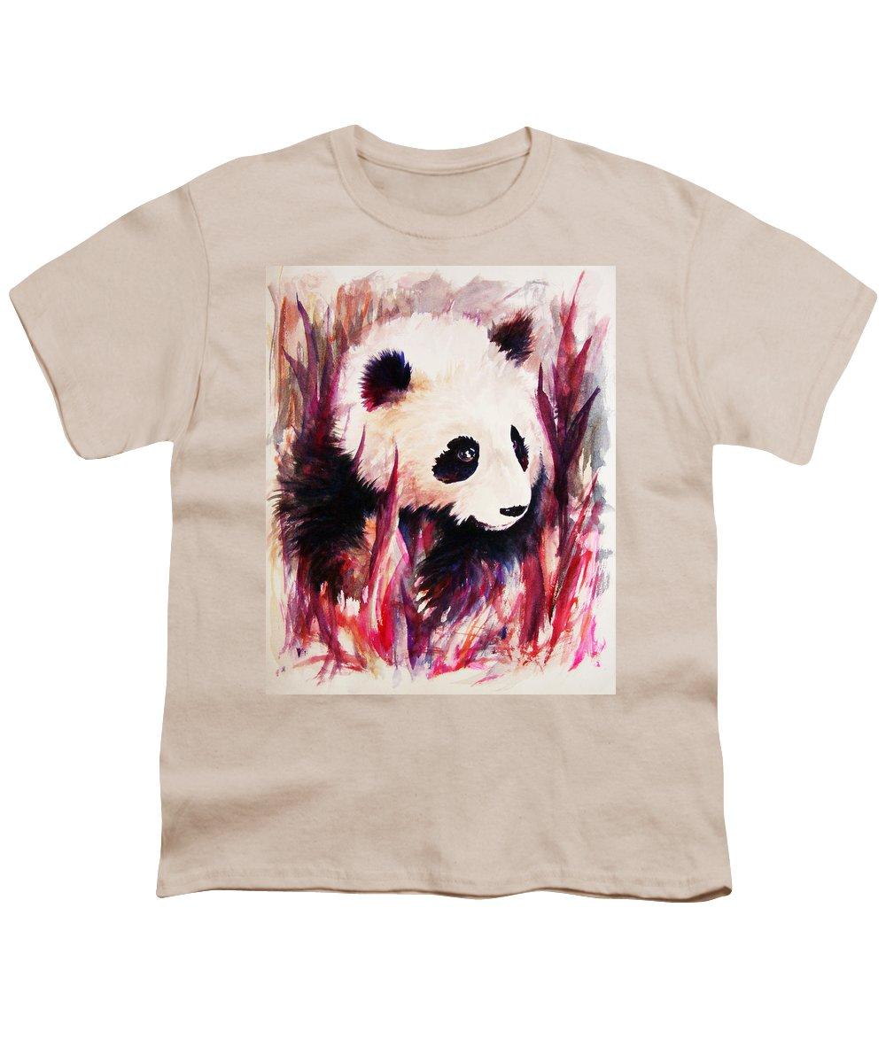 Panda Youth T-Shirt featuring the painting Panda by Rachel Christine Nowicki