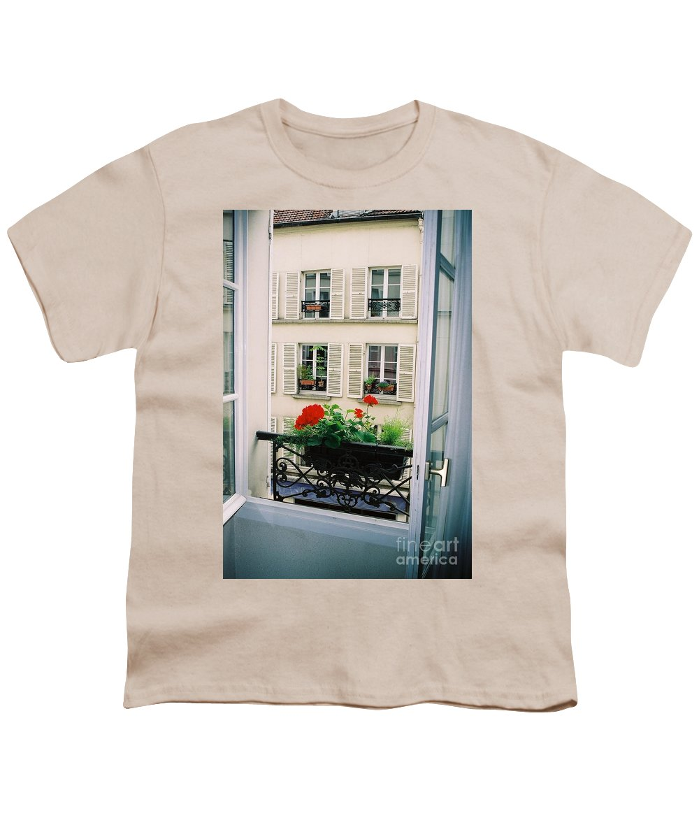 Window Youth T-Shirt featuring the photograph Paris Day Windowbox by Nadine Rippelmeyer