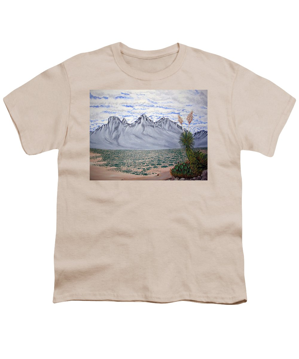 Desertscape Youth T-Shirt featuring the painting Pass Of The North by Marco Morales