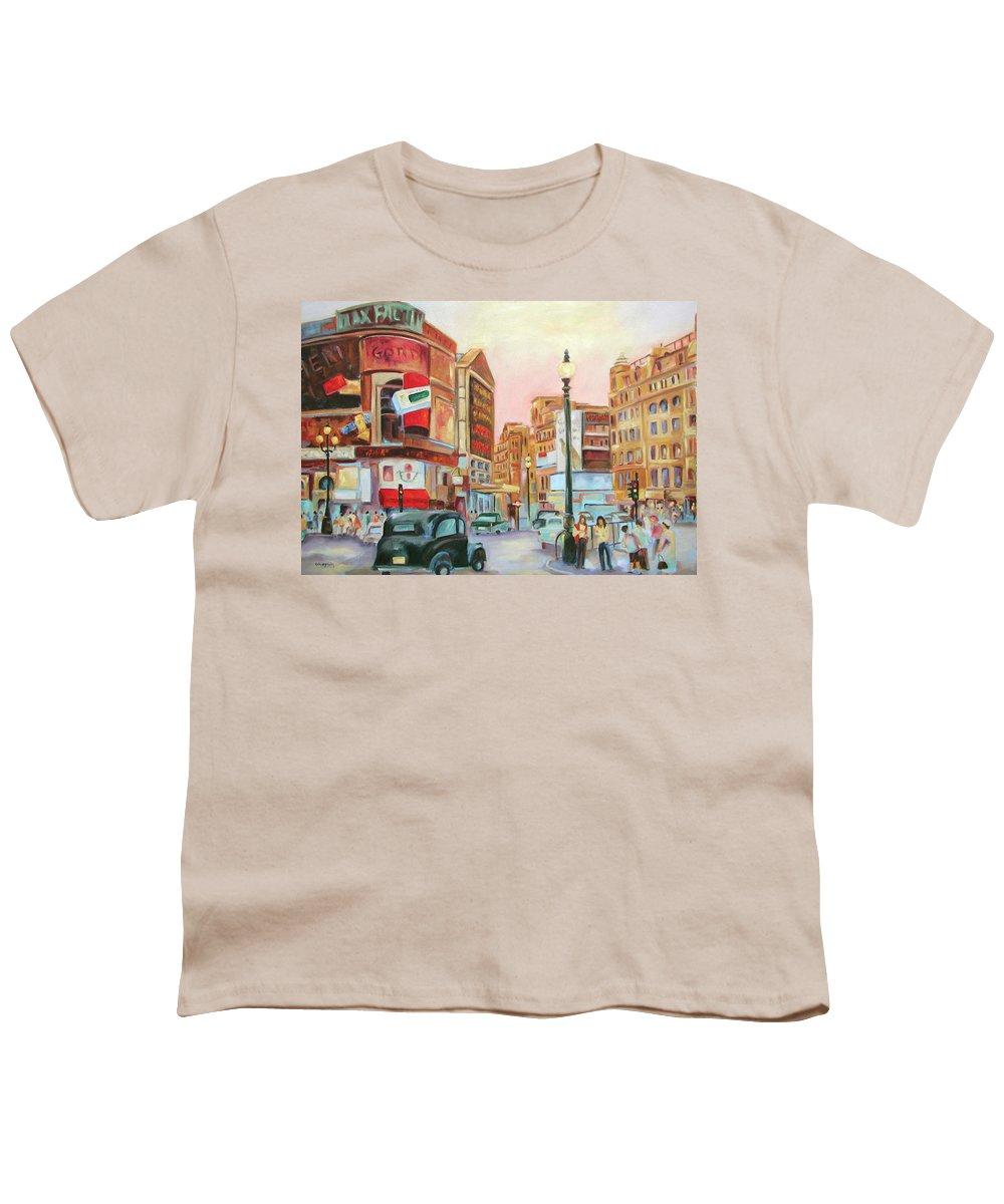 Cityscape Youth T-Shirt featuring the painting Picadilly by Ginger Concepcion