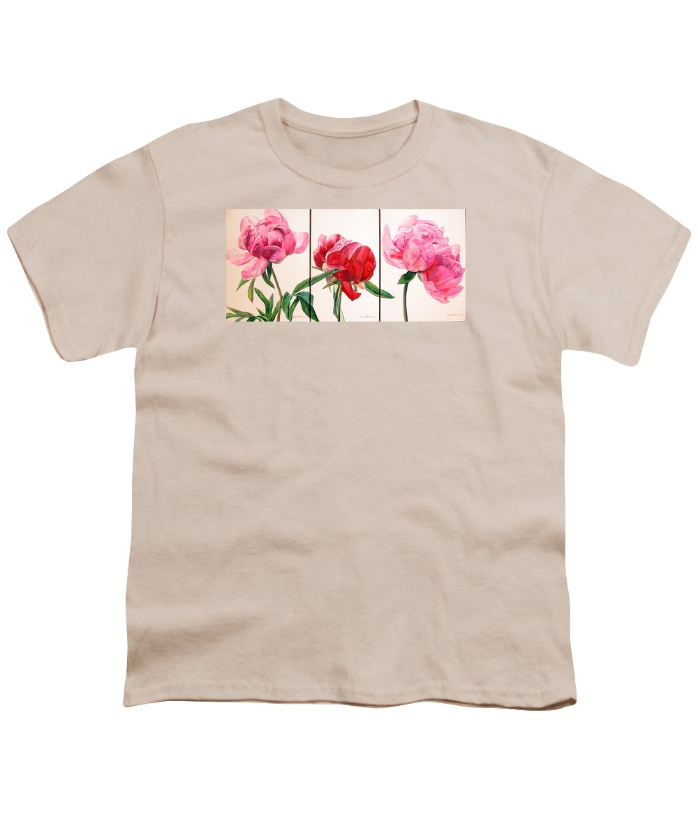 Floral Painting Youth T-Shirt featuring the painting Pivoines by Muriel Dolemieux