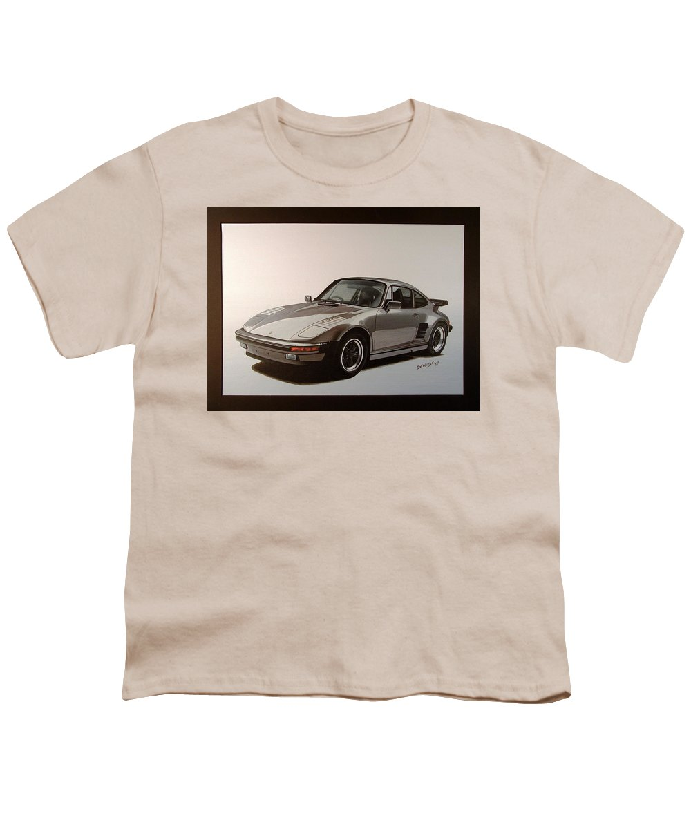 Car Youth T-Shirt featuring the painting Porsche by Shawn Stallings