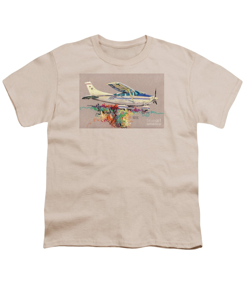 Small Plane Youth T-Shirt featuring the drawing Private Plane by Donald Maier