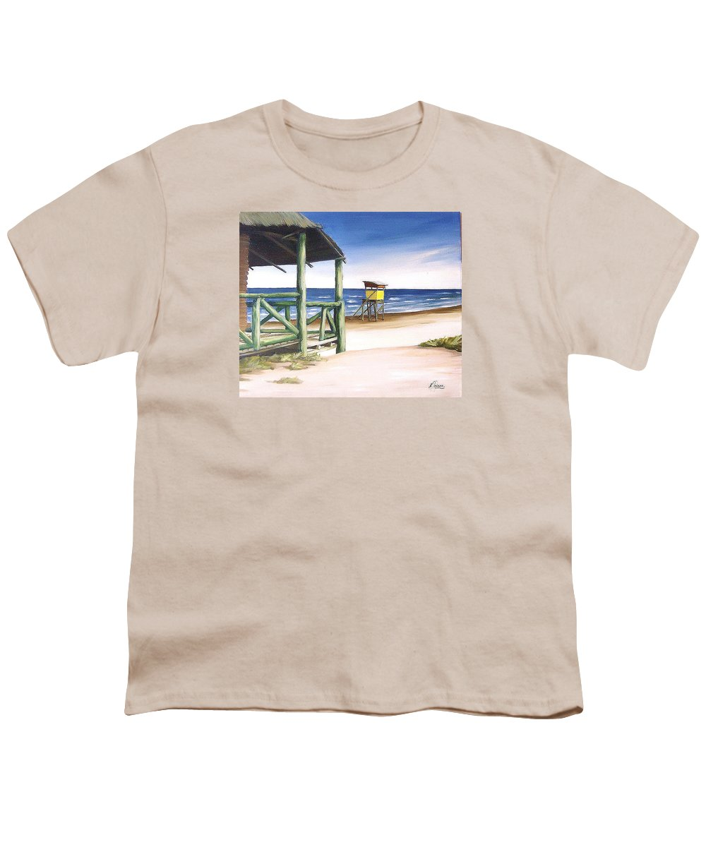 Seascape Beach Landscape Water Ocean Youth T-Shirt featuring the painting Punta Del Diablo S Morning by Natalia Tejera