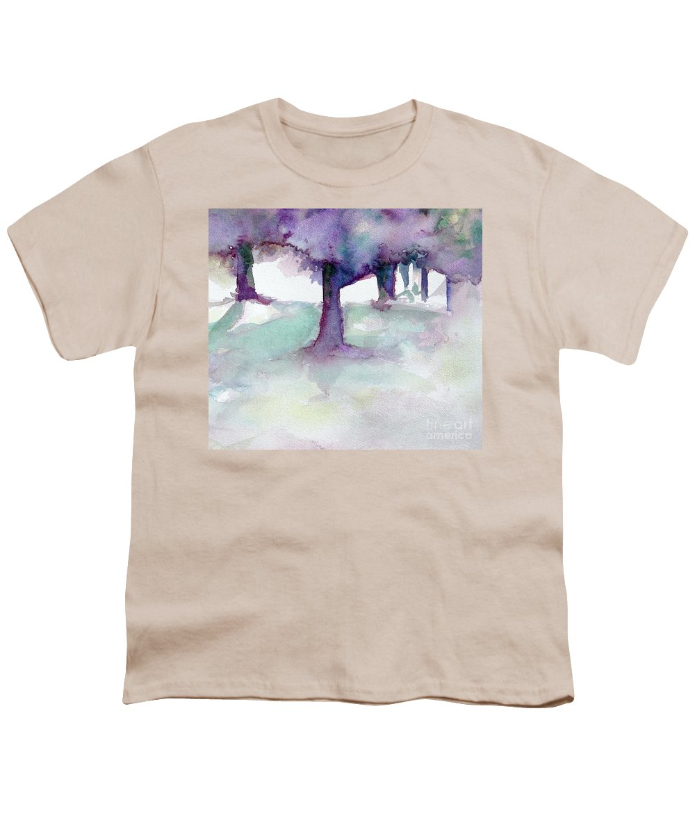 Landscape Youth T-Shirt featuring the painting Purplescape II by Jan Bennicoff