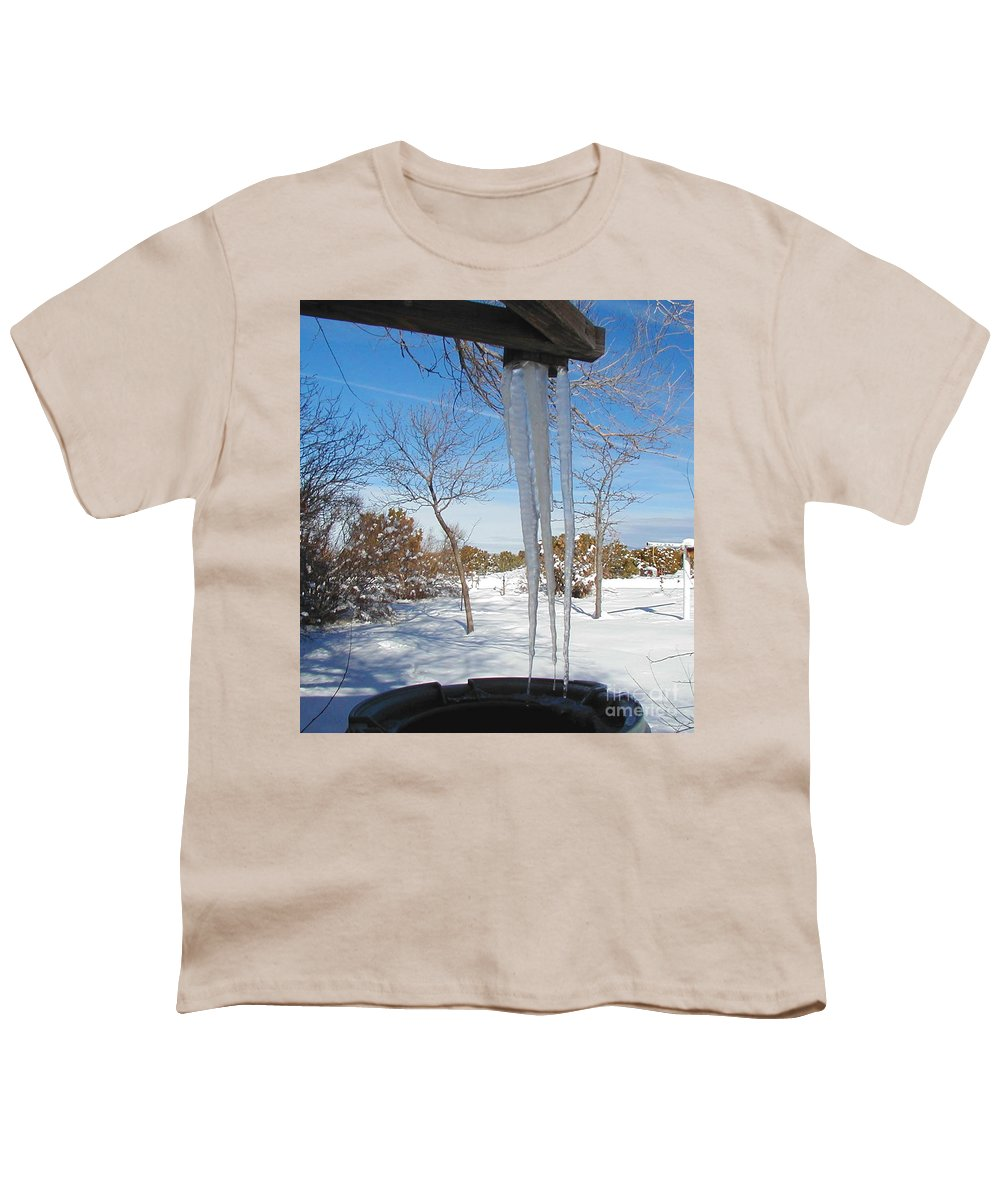 Icicle Youth T-Shirt featuring the photograph Rain Barrel Icicle by Diana Dearen