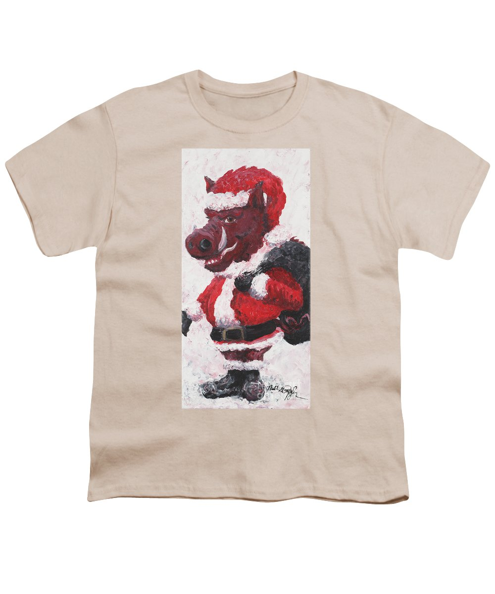 Santa Youth T-Shirt featuring the painting Razorback Santa by Nadine Rippelmeyer