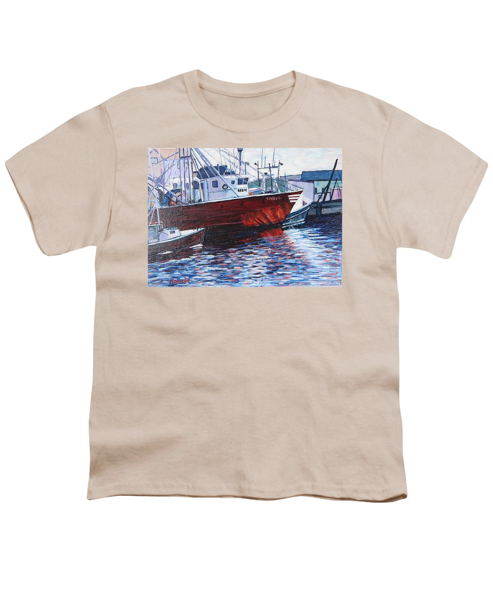 Boats Youth T-Shirt featuring the painting Red Boats by Richard Nowak