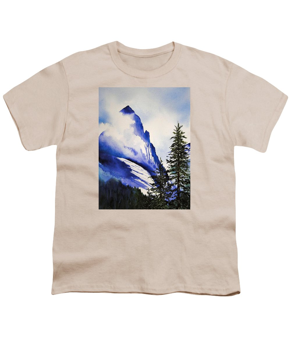 Rocky Mountains Youth T-Shirt featuring the painting Rocky Mountain High by Karen Stark