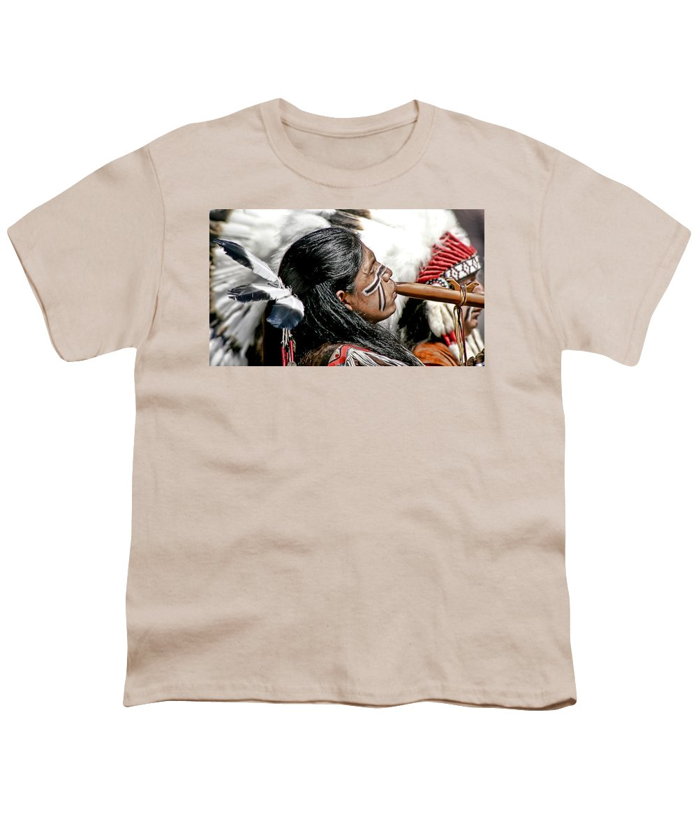 American Indian Youth T-Shirt featuring the photograph Sacred Flute by Donovan Torres