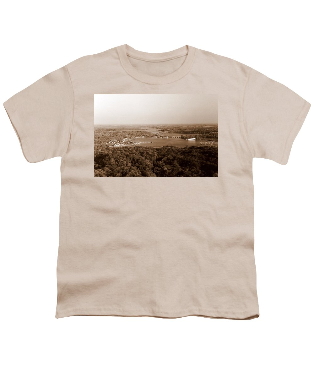 Saugatuck Youth T-Shirt featuring the photograph Saugatuck Michigan Harbor Aerial Photograph by Michelle Calkins