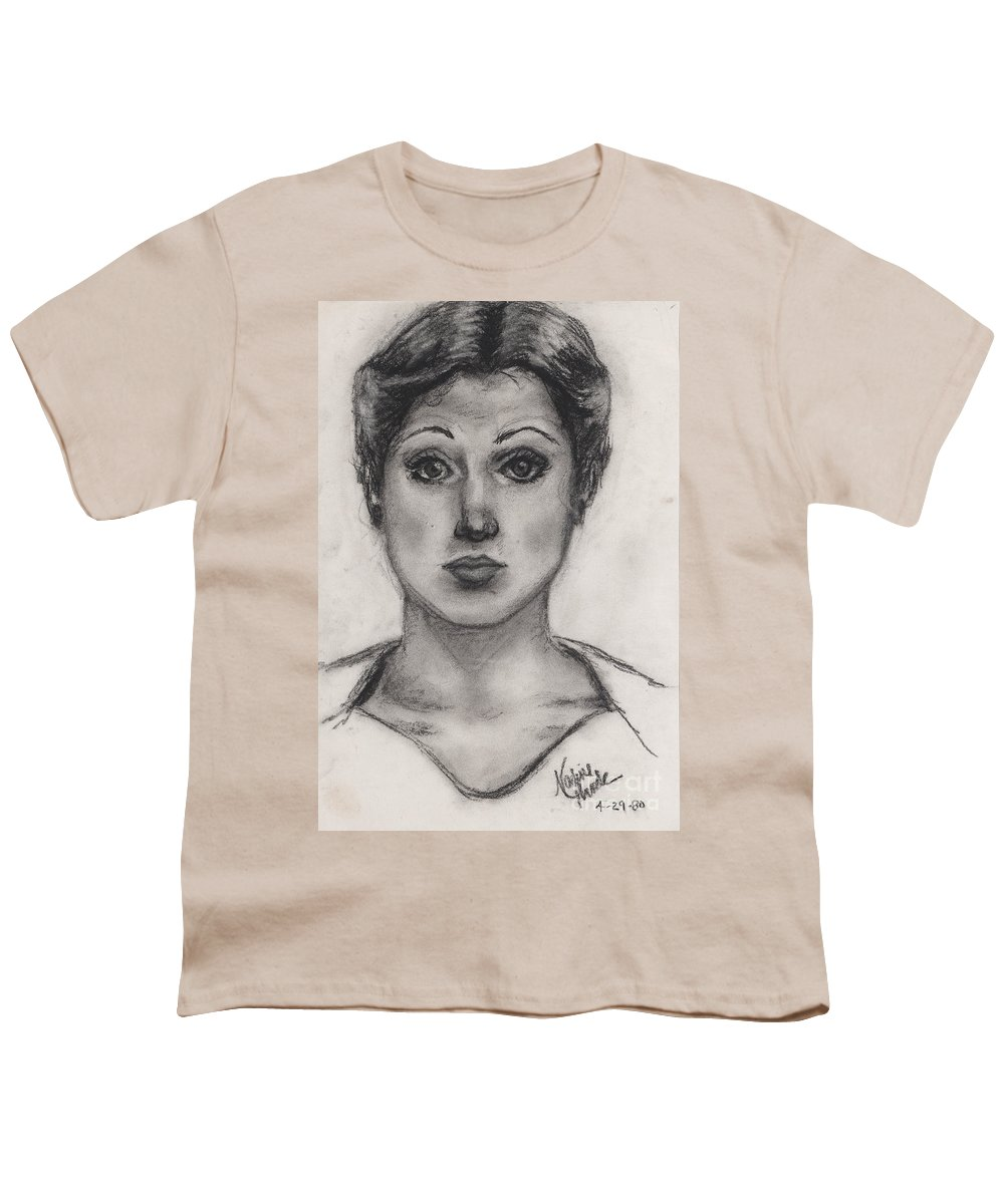 Nadine Youth T-Shirt featuring the drawing Self Portrait At Age 18 by Nadine Rippelmeyer