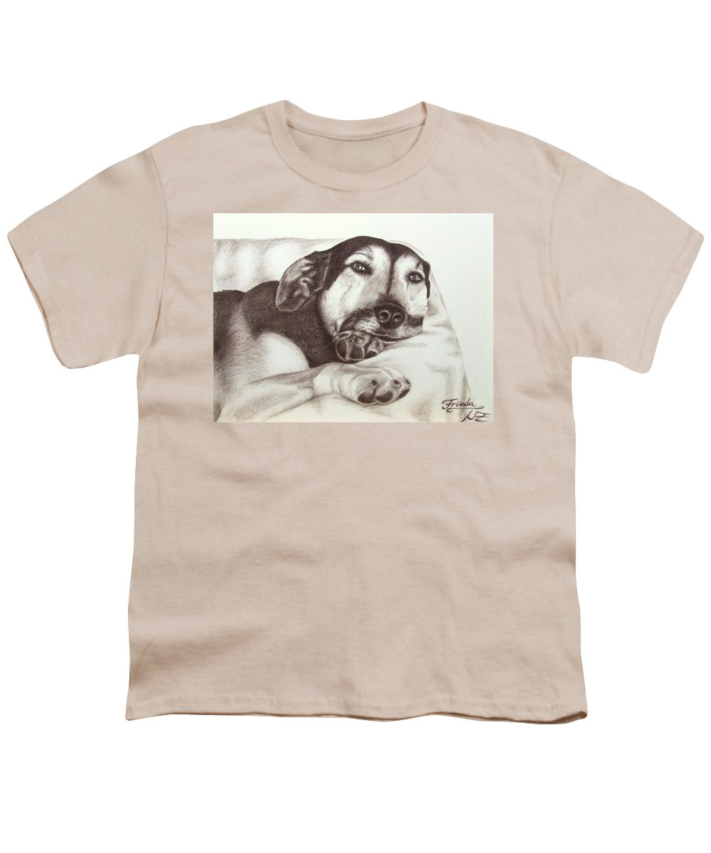 Dog Youth T-Shirt featuring the drawing Shepherd Dog Frieda by Nicole Zeug