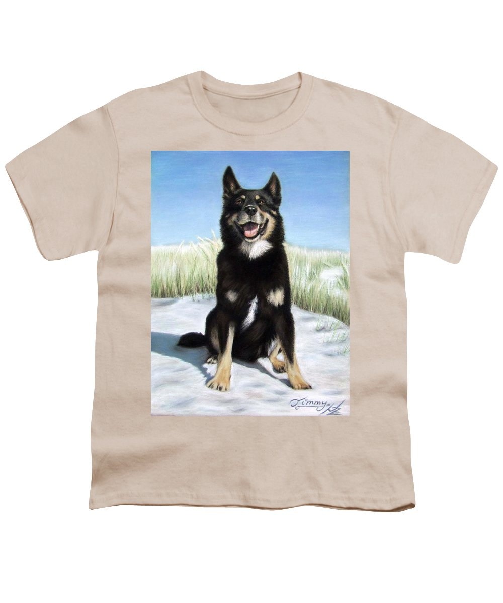 Dog Youth T-Shirt featuring the pastel Shepherd Mix Timmy by Nicole Zeug