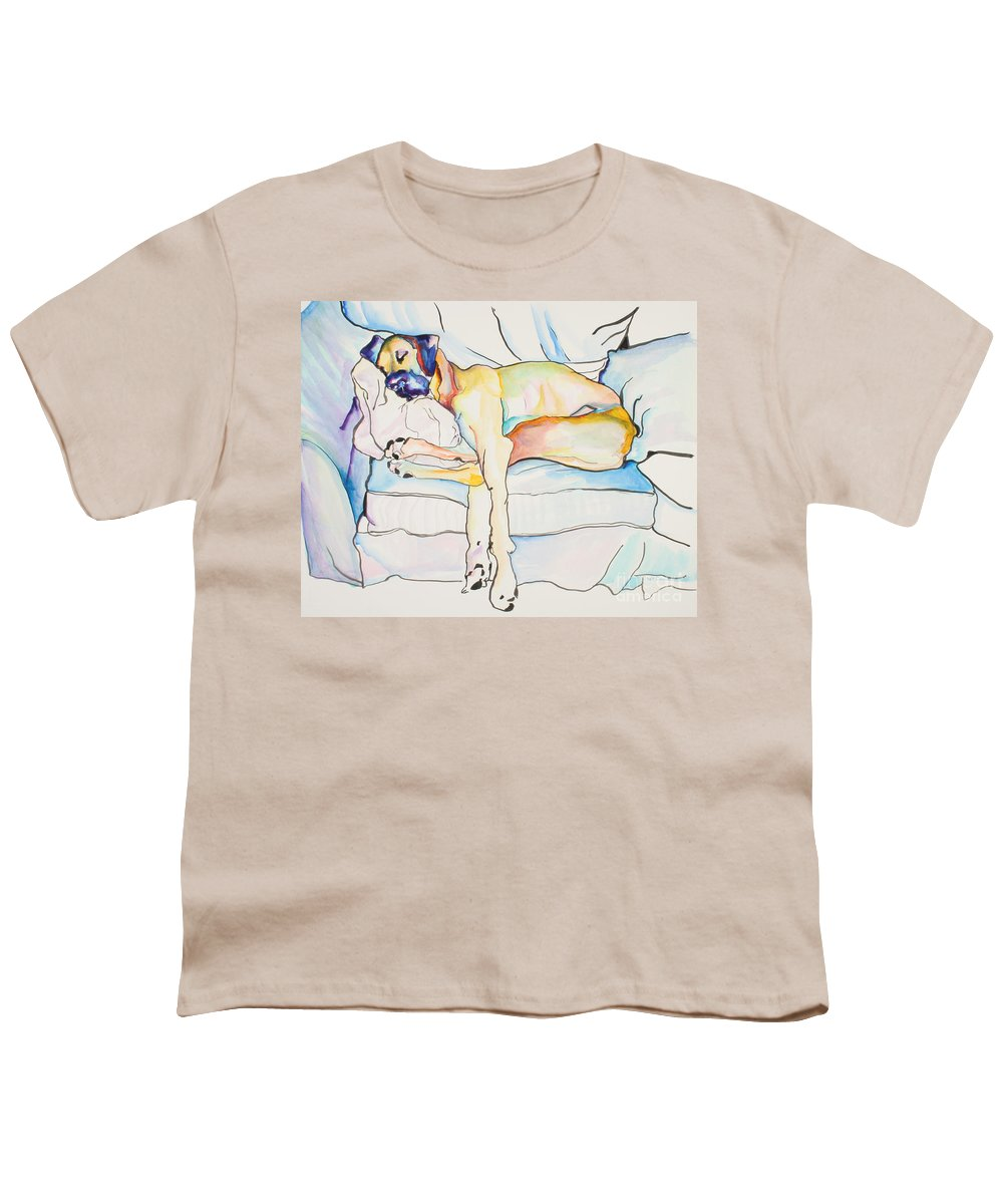 Great Dane Youth T-Shirt featuring the painting Sleeping Beauty by Pat Saunders-White