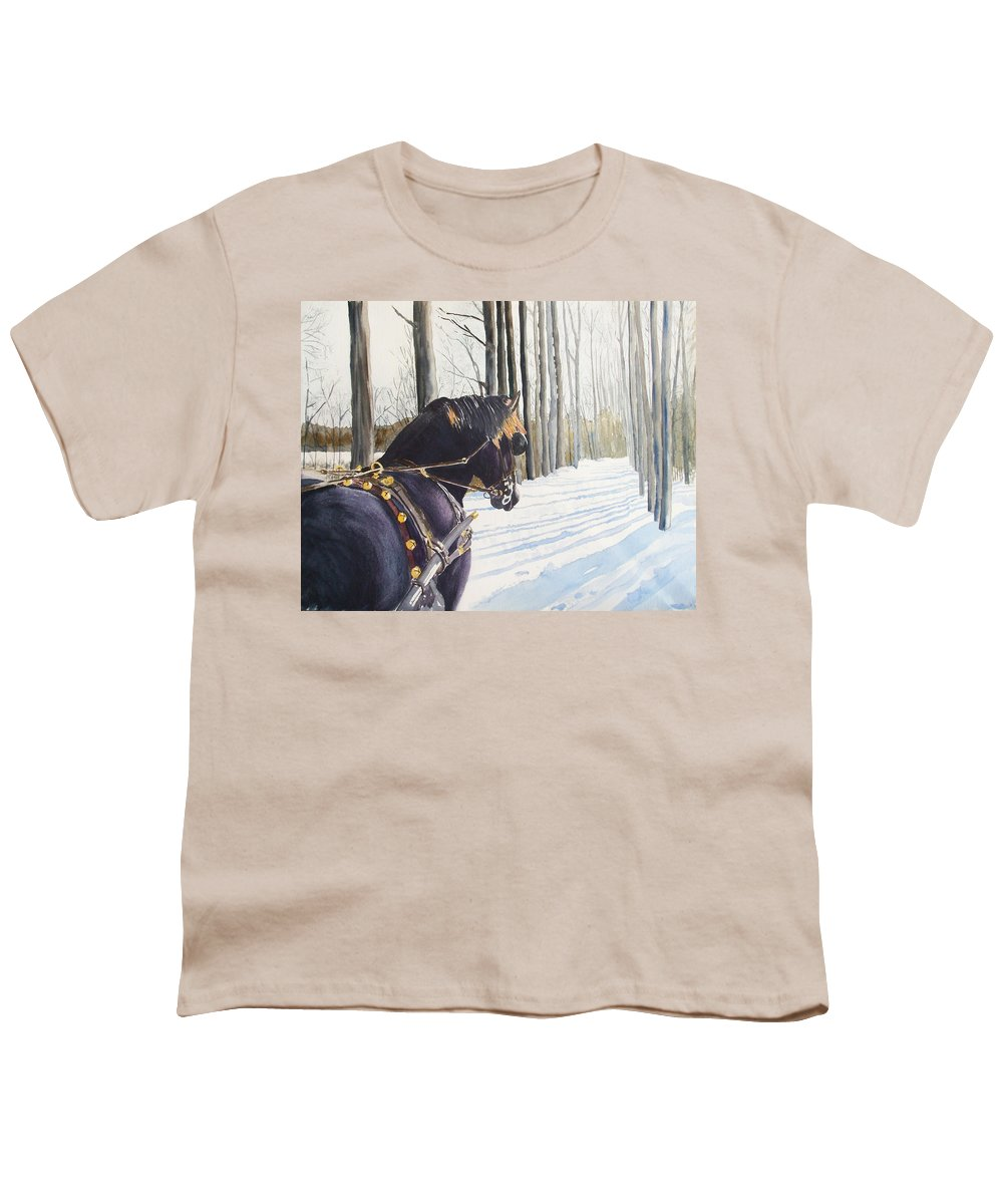 Horse Youth T-Shirt featuring the painting Sleigh Bells by Ally Benbrook