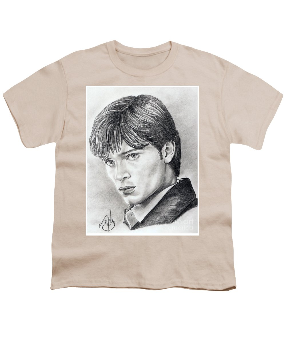 Superman Youth T-Shirt featuring the drawing Smallville Tom Welling by Murphy Elliott