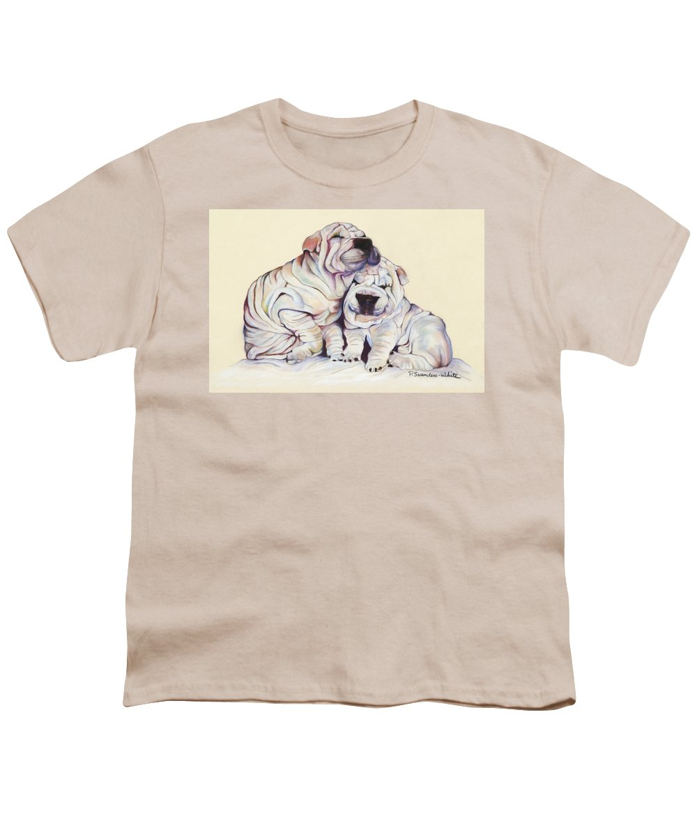 Dog Painting Youth T-Shirt featuring the pastel Snuggles by Pat Saunders-White
