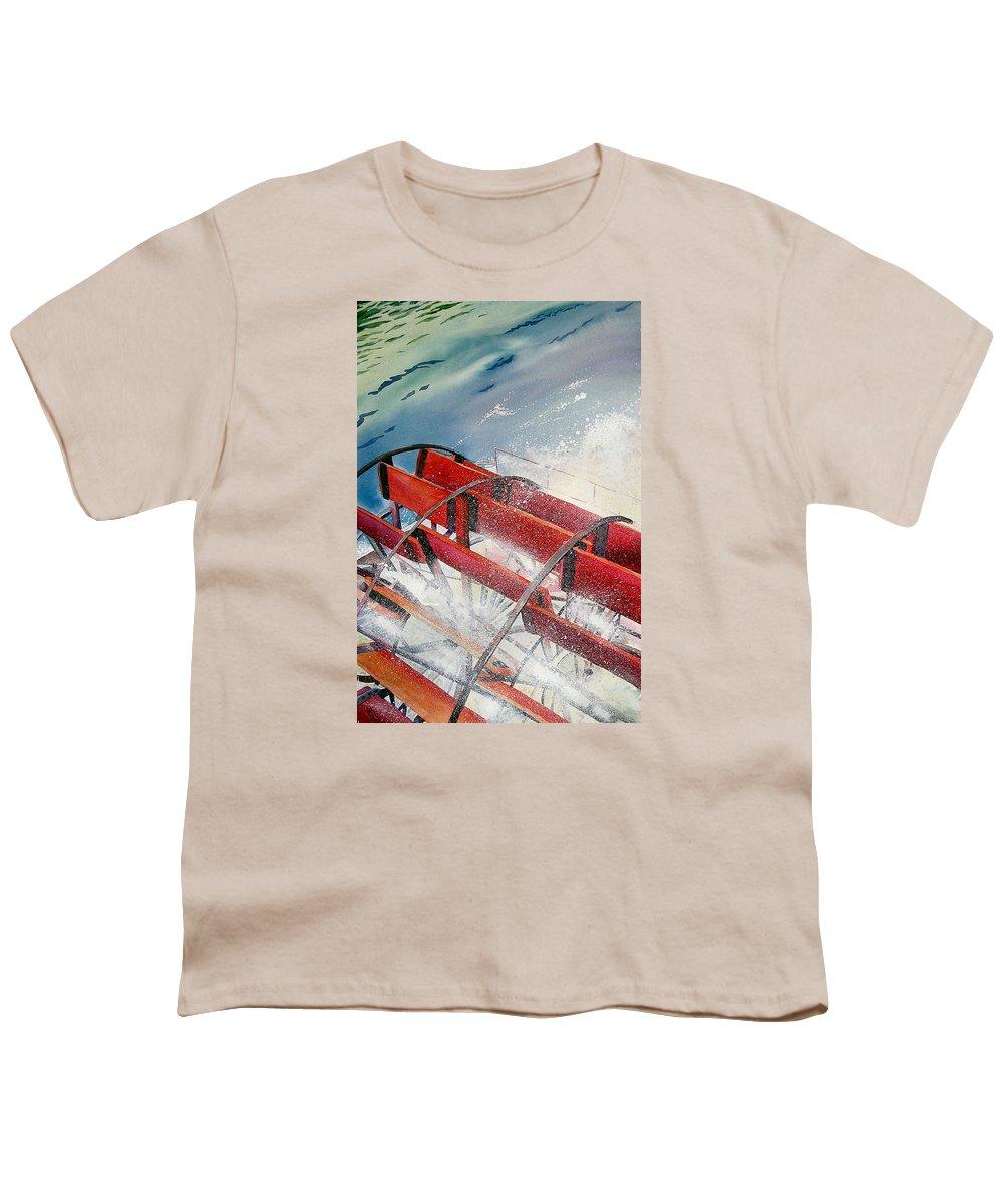 Paddlewheeler Youth T-Shirt featuring the painting Sternwheeler Splash by Karen Stark