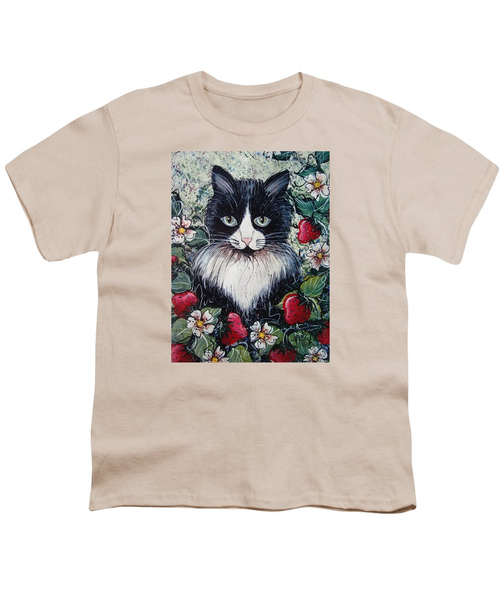 Cat Youth T-Shirt featuring the painting Strawberry Lover Cat by Natalie Holland