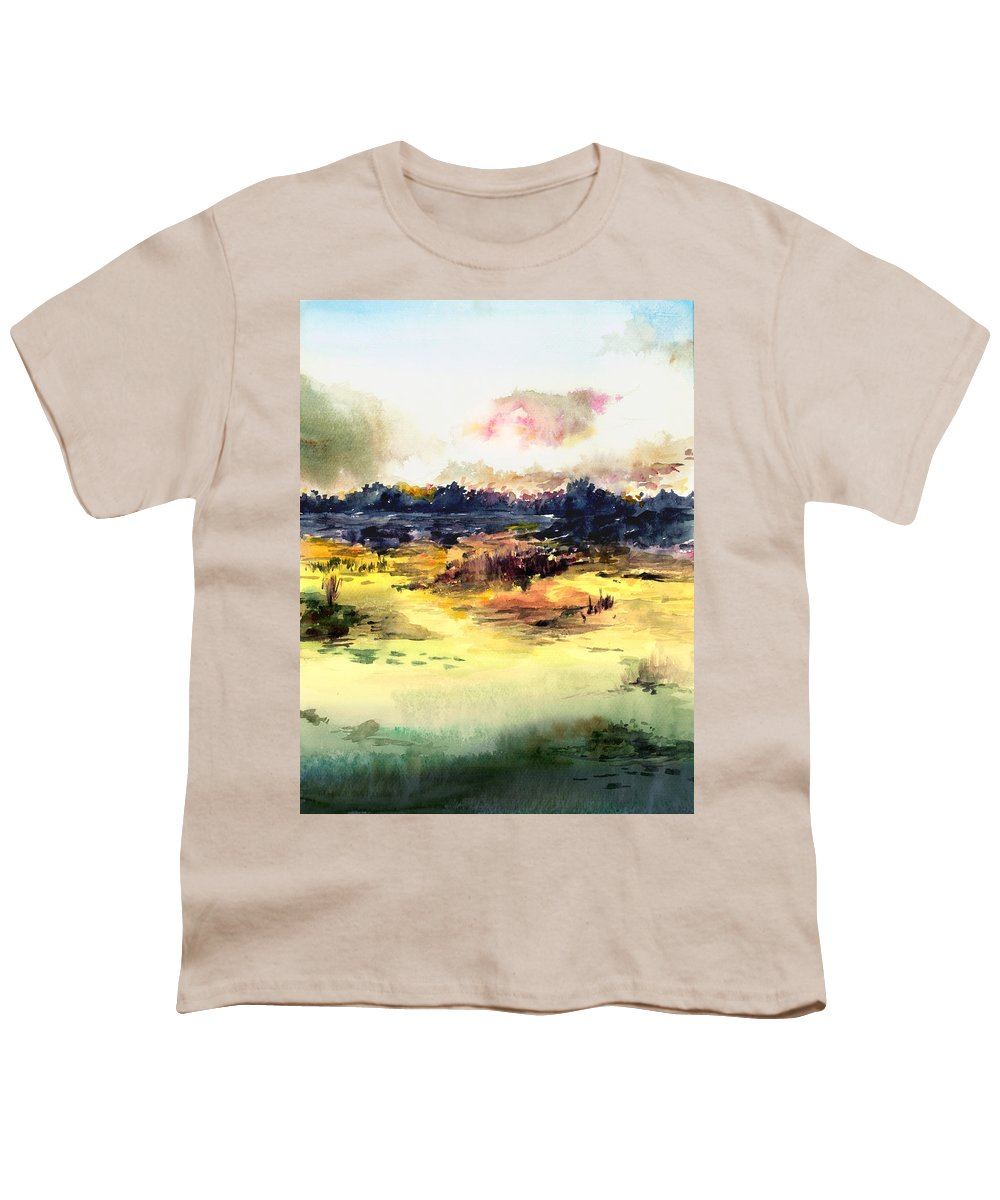 Landscape Water Color Sky Sunrise Water Watercolor Digital Mixed Media Youth T-Shirt featuring the painting Sunrise by Anil Nene