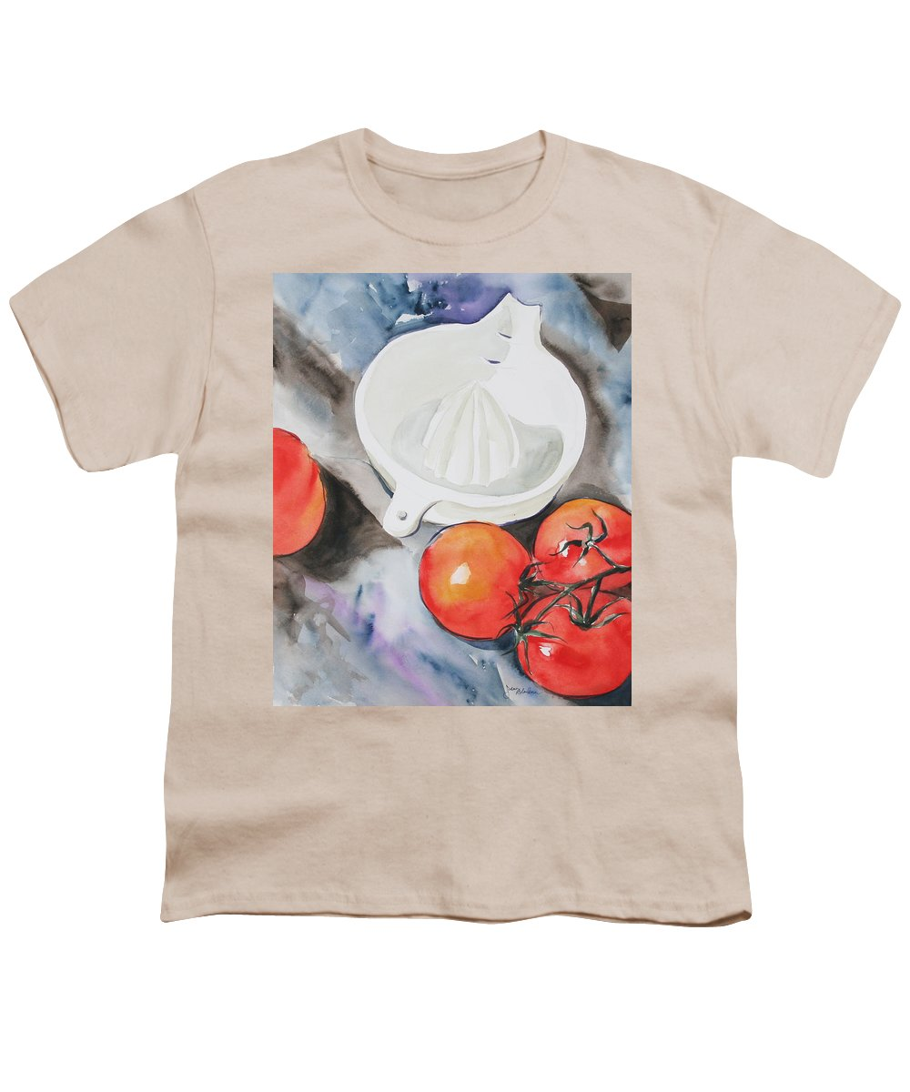 Tomatoes Youth T-Shirt featuring the painting Sunshine On The Vine by Jean Blackmer