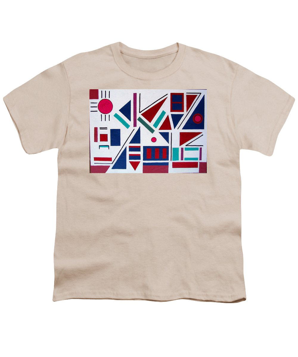 Abstract Youth T-Shirt featuring the painting Symmetry In Blue Or Red by Marco Morales