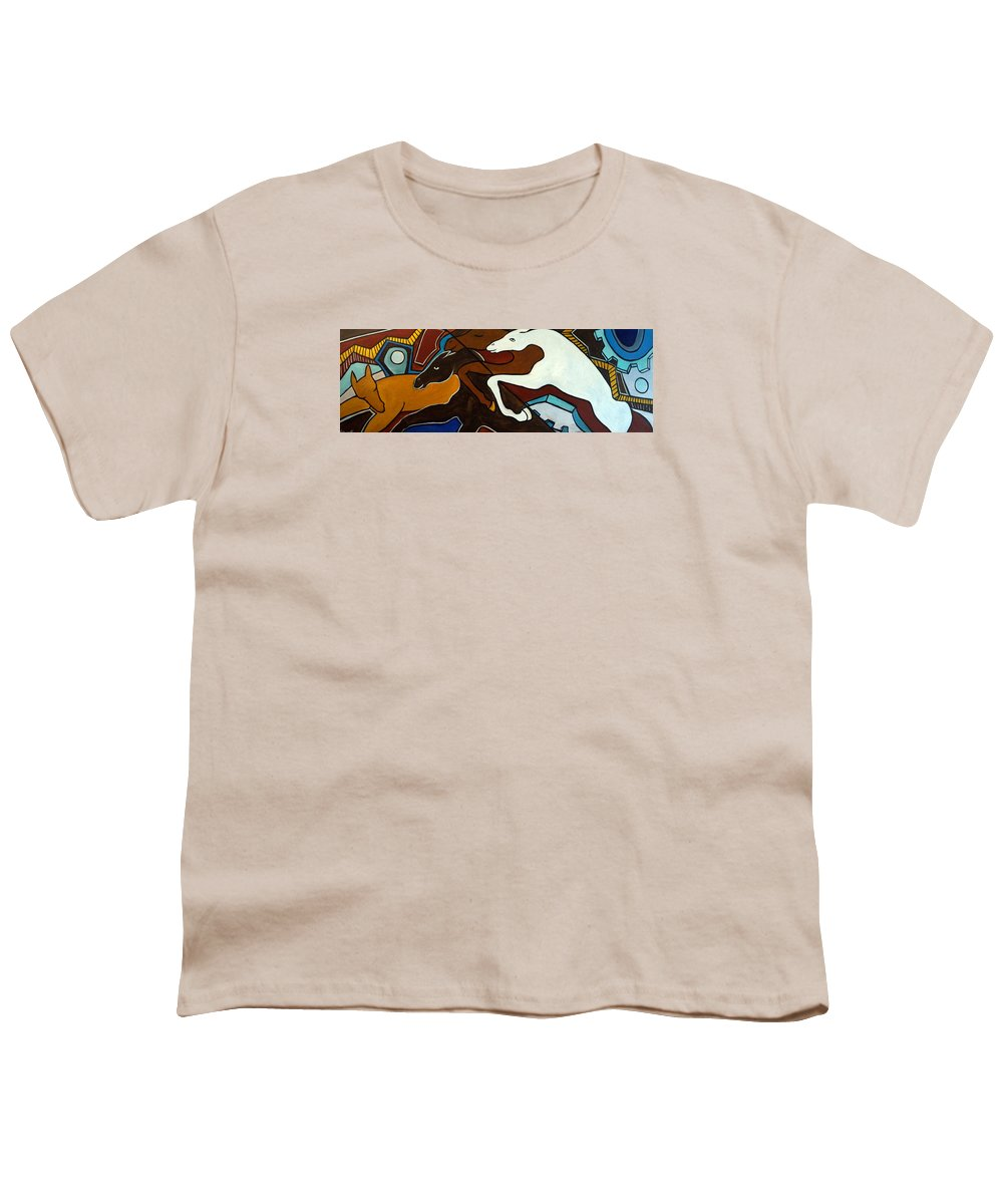 Horse Abstract Youth T-Shirt featuring the painting Taffy Horses by Valerie Vescovi