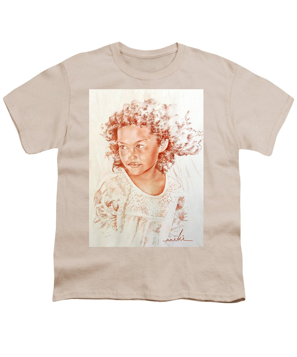 Drawing Persons Youth T-Shirt featuring the painting Tahitian Girl by Miki De Goodaboom