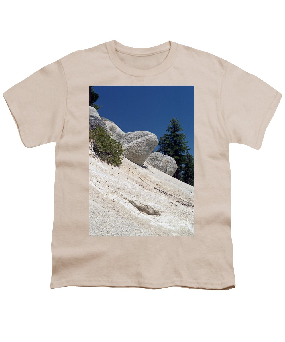 Abstract Youth T-Shirt featuring the photograph Tahoe Rocks by Richard Rizzo