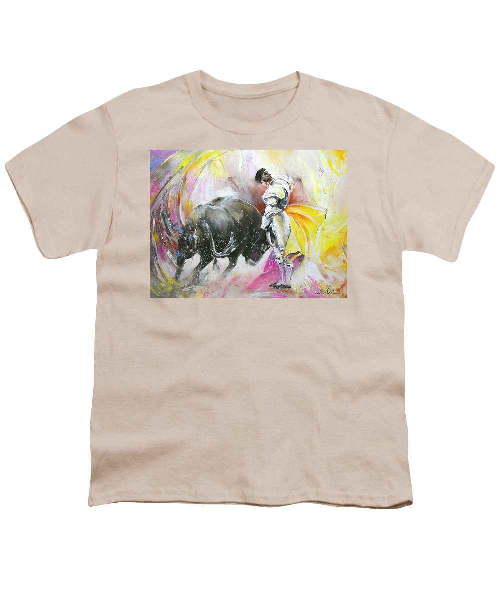 Animals Youth T-Shirt featuring the painting Taurean Power by Miki De Goodaboom