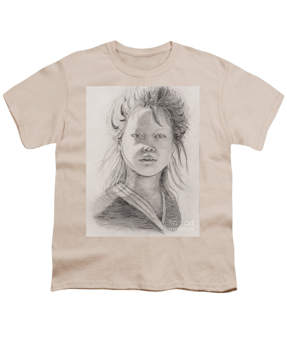 Portrait Youth T-Shirt featuring the drawing Thai Beauty by Nadine Rippelmeyer