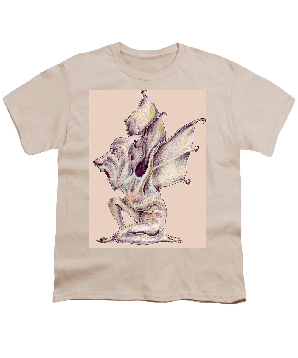 Bat Rat Man Drawings Color Pencil Youth T-Shirt featuring the drawing That Bat Man Rat by Veronica Jackson