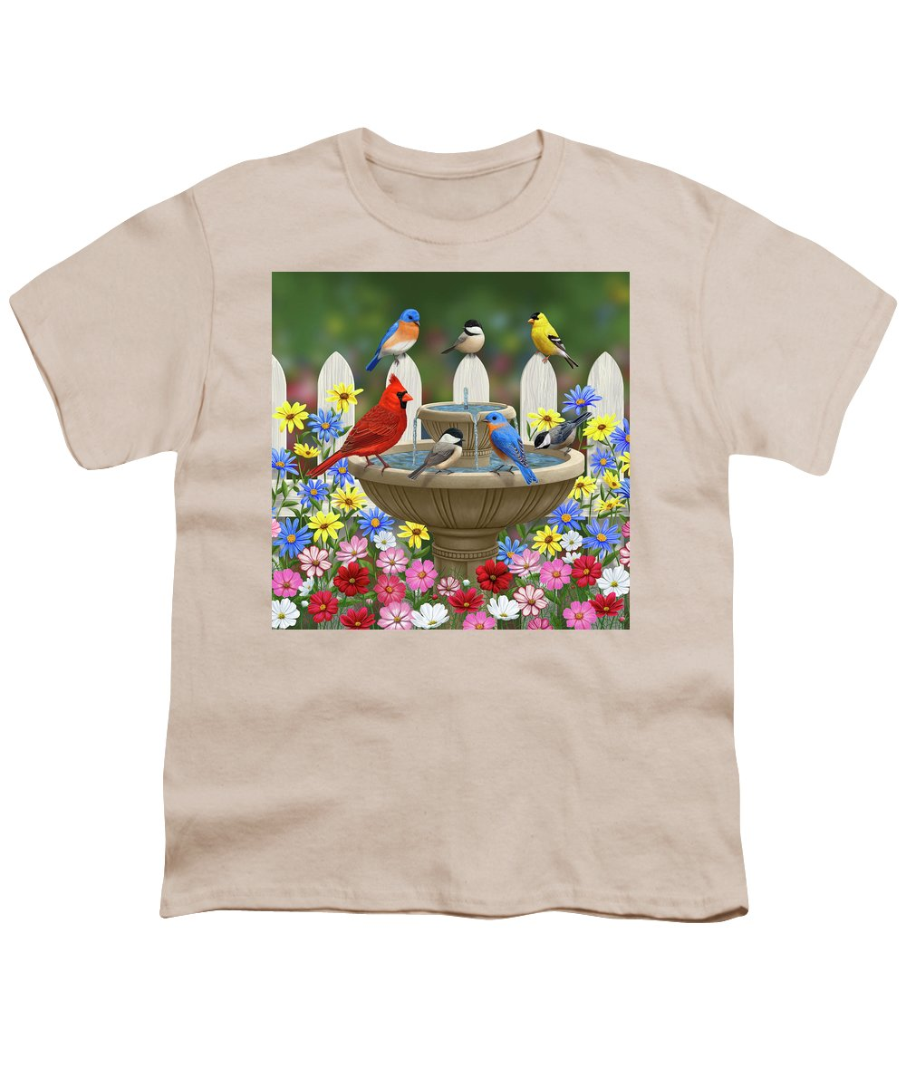 Birds Youth T-Shirt featuring the painting The Colors Of Spring - Bird Fountain In Flower Garden by Crista Forest