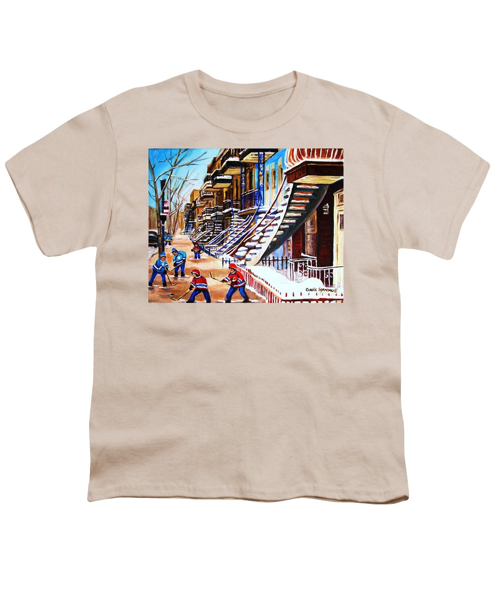 Hockey Youth T-Shirt featuring the painting The Gray Staircase by Carole Spandau